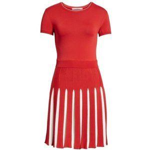 Valentino Red White Panel Pleated Knit Mini Dress